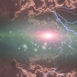 Elektriciteitsflitsen in diepe ruimte stock illustratie