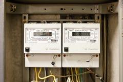 Elektriciteitsmeter in twee fasen Royalty-vrije Stock Foto's