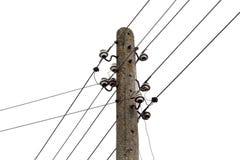 Elektriciteitspost met draadlijnen. Machts elektrische distributie royalty-vrije stock foto