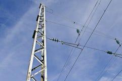 Elektriciteitspyloon voor spoorwegen Stock Afbeeldingen