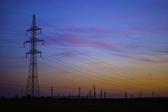 Elektricitet i solnedgång Royaltyfria Foton