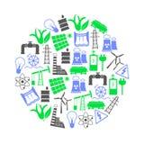Elektricitet och energisymboler och symbol i cirkel Arkivfoto