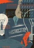 elektricitet retro grungeaffisch också vektor för coreldrawillustration stock illustrationer