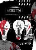 elektricitet retro grungeaffisch också vektor för coreldrawillustration royaltyfri illustrationer