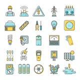 Elektricitet släkt framlänges fodrar symbolsuppsättningen stock illustrationer