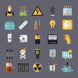 Elektricitet släkt plan symbolsuppsättning royaltyfri illustrationer