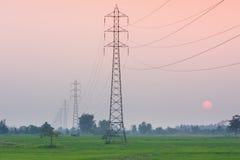 Elektricitetsöverföringspylon i fältet på solnedgång Royaltyfria Bilder