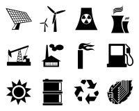 Elektricitets-, ström- och energisymbolsset. Royaltyfri Fotografi