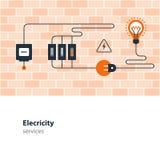 Elektricitetsanslutning, elektrisk service och tillförsel, energi - besparing Arkivbilder