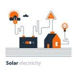 Elektricitetsanslutning, sol- elektrisk tillförsel, energi - besparing Arkivbilder