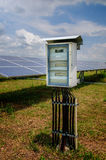 Elektricitetsask på solenergiväxten Arkivfoto
