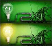 elektricitetslightbulbpylon Royaltyfri Foto