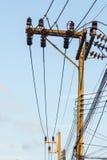 Elektricitetspoler och tr?dar f?rbinder till den h?ga sp?nningsmakttransformatorn royaltyfri bild