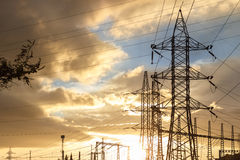 Elektricitetspylon på solnedgången Arkivfoto