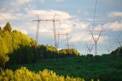 Elektricitetspyloner, kraftledningar och träd silhouetted mot a Royaltyfri Fotografi