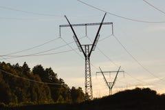 Elektricitetspyloner, kraftledningar och träd silhouetted mot a Royaltyfri Bild