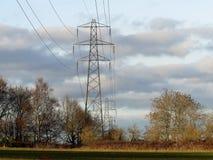 Elektricitetspyloner som korsar fält arkivfoton