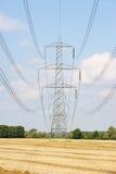 Elektricitetspylons i bygd Arkivbild