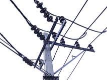 Elektricitetsstolpe som isoleras på vit Fotografering för Bildbyråer