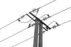 Elektricitetsstolpe som isoleras på vit Royaltyfri Fotografi