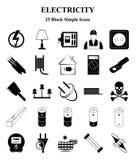 Elektricitetssymbolsuppsättning för rengöringsduk och mobil royaltyfri illustrationer