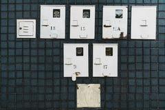 Elektricitetstillförselmeter på mörkret belade med tegel väggen arkivbild