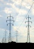Elektricitetstrådar i land Royaltyfri Fotografi