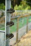 Elektrifierad säkerhetsstaket och rakknivtråd Fotografering för Bildbyråer