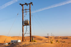 Elektrifiering av öknen Arkivfoton