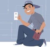 Elektriker, der eine Wandsteckdose installiert Stockfotos