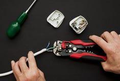 Elektriker mit Stecker und Abisolierzange lizenzfreies stockbild