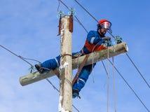 Elektriker som arbetar på höjd utan hjälpmedlet av medel royaltyfri bild