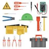 Elektriker Tool Flat Set Lizenzfreie Stockbilder