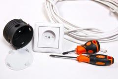 Elektriker Werkzeuge, Kabel, Kasten für Installation von Sockeln und wa Lizenzfreie Stockbilder