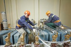 Elektrikerarbeitskräfte Lizenzfreie Stockfotos
