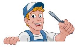 ElektrikerCartoon Handyman Plumber mekaniker royaltyfri illustrationer