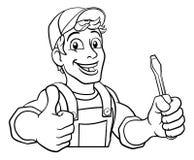 ElektrikerCartoon Handyman Plumber mekaniker stock illustrationer