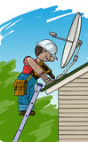 Elektrikeren installerar den satellit- antennen på ett tak Royaltyfria Foton