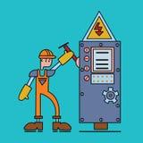 Elektrikeren på arbete, man i funktionsduglig likformig vänder på strömbrytaren av maktspänning Elektrisk service Vektorlägenhet Arkivfoton