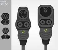 Elektrisch auto ev type 1 en type - 2 Combo-ladersschakelaars beheksen contactdozen royalty-vrije stock afbeelding