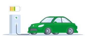 Elektrisch auto het laden proces vector illustratie