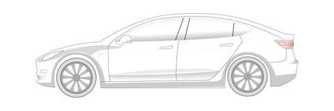 Elektrisch Auto transparant silhouet Klaar colorize stock afbeelding