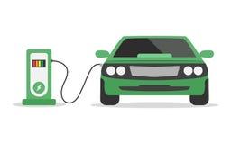 Elektrisch autoconcept Het laden post op witte achtergrond Groene electromobile Ecologisch vervoer Elektriciteitsmacht vector illustratie