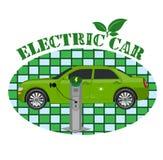 Elektrisch autoembleem, vectorillustratie, vlakke stijl Stock Foto