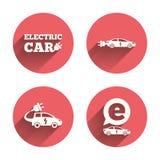 Elektrisch autoteken Sedan en Vijfdeursautovervoer Royalty-vrije Stock Foto's