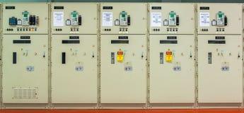 Elektrisch controlemechanisme bij krachtcentrale stock afbeelding