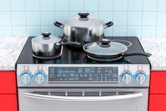 Elektrisch dia-in convectiewaaier met pot, pan en bakpan 3d Royalty-vrije Stock Foto