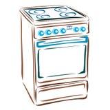 Elektrisch fornuis, huishoudapparaten voor de keuken royalty-vrije illustratie
