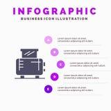 Elektrisch, Huis, Machine, de Presentatiemalplaatje van Broodroosterinfographics 5 stappenpresentatie stock illustratie
