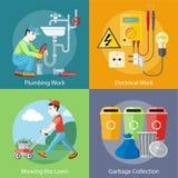 Elektrisch, Installationsarbeiten, mähender Rasen und Abfall lizenzfreie abbildung